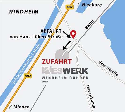 Anfahrt zum Kieswerk Windheim-Döhren